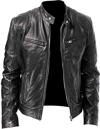 Ayesha Mens Leather Jackets Motorcycle Bomber Biker Genuine Lambskin 22
