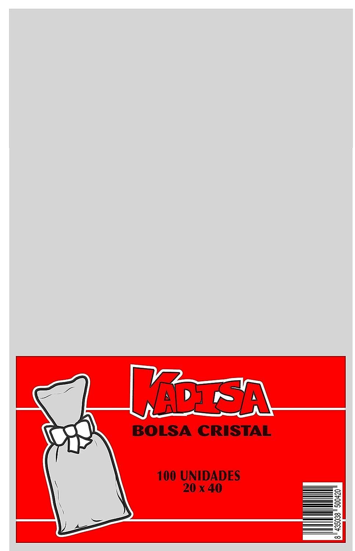 KADISA BOLSAS CELOFAN TRANSPARENTES PARA CELEBRACIONES, CUMPLEAÑOS, BODAS, COMUNIONES, DETALLES, REGALOS, FIESTAS, MESAS DULCES, PASTELERÍA (20X40CM)