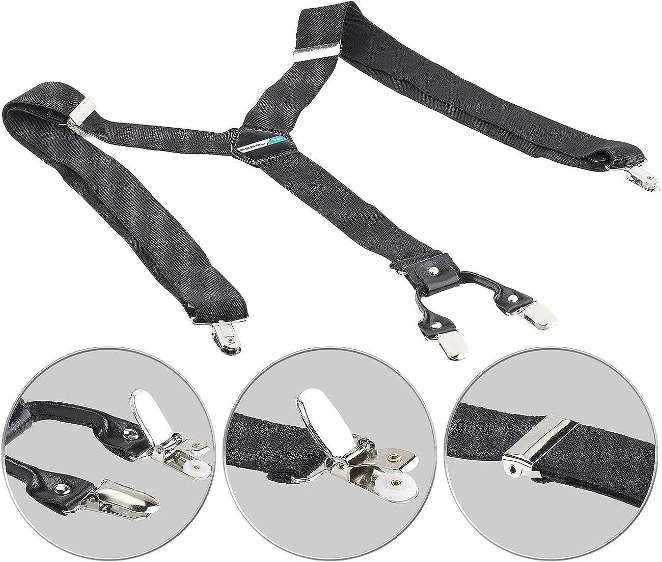 PEARL basic extra Breite Hosentr/äger: Breite Hosentr/äger 4 Clips Echtleder-Applikation schwarz Y-Form Suspender