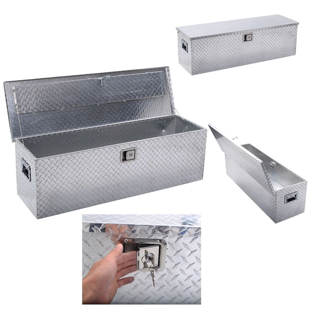 49''x15'' Aluminum Tool Box Tote Storage for Truck Pickup Bed Trailer Tongue W/Lock by Roadstar