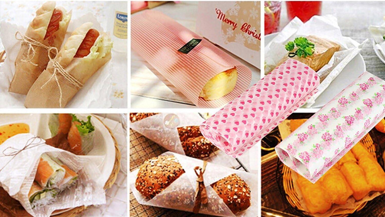 antiolio confezione da 100 cartine per impacchettare torte e hamburger antiaderente Iceblueor impermeabili