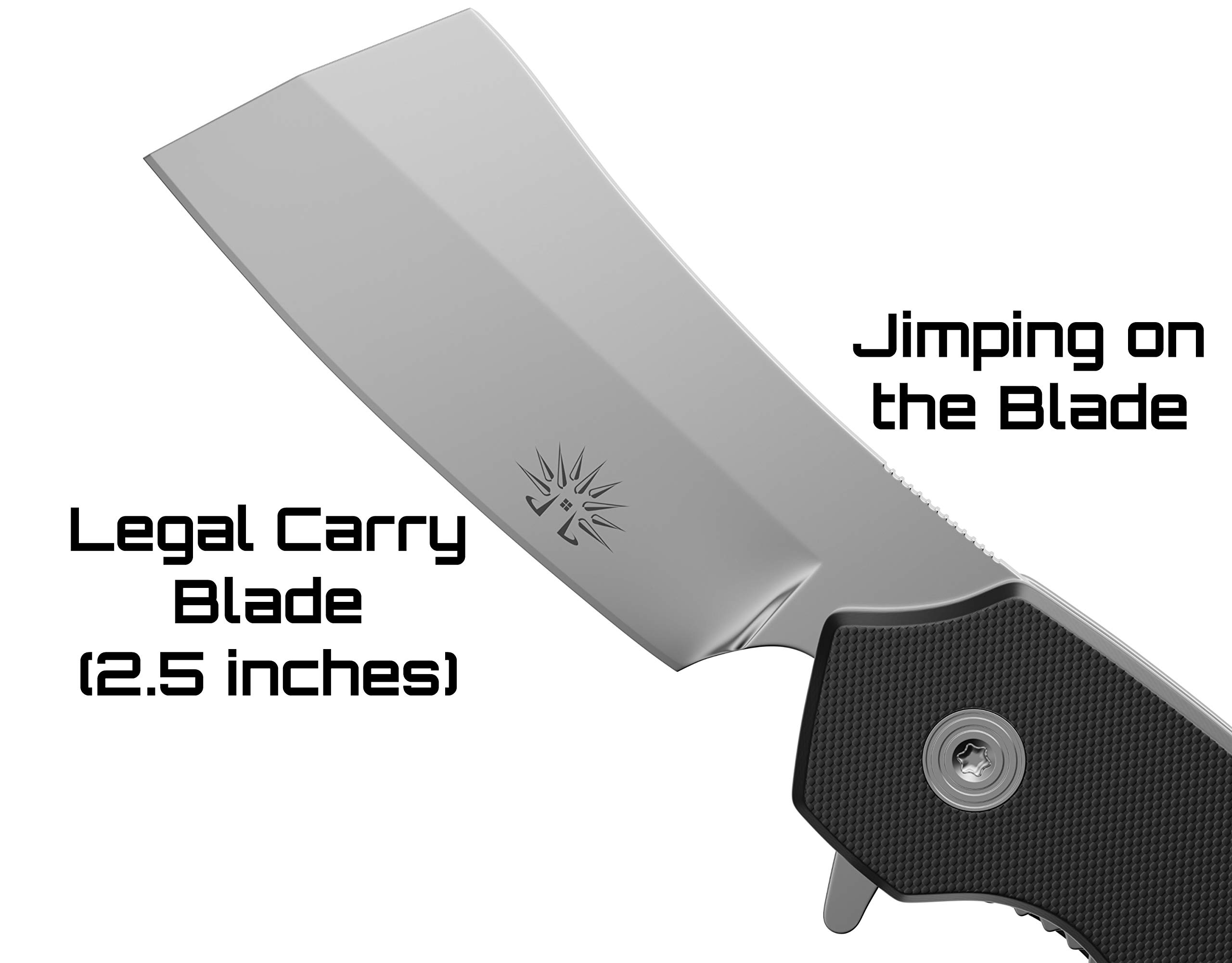 Off-Grid Knives - Cleaver Compact EDC Folding Knife, Satin Finish, Safety Grid-Lock Turns This Folder Into A Fixed Blade, Cryo AUS8 Blade Steel, G10 Handle & Tip-Up Reversible Deep Carry Pocket Clip by Off-Grid Knives (Image #2)