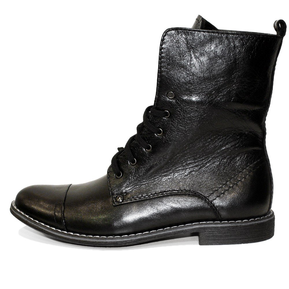 Modello Kamon - Cuero Italiano Hecho A Mano Hombre Piel Negro Botas Altas - Cuero Cuero Suave - Encaje: Amazon.es: Zapatos y complementos