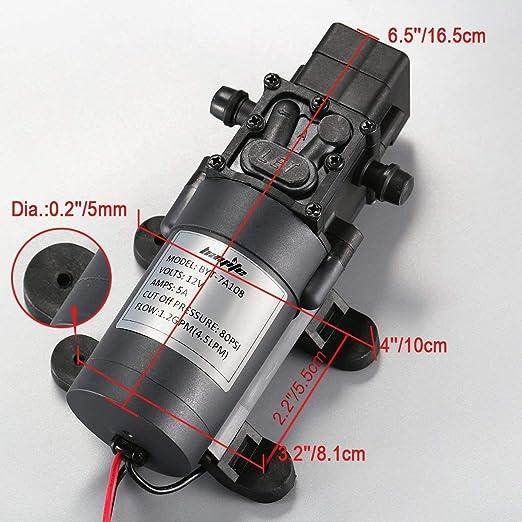 Nrpfell Bomba de Presi/óN de Agua RV de 12 V Bomba de Agua Dulce El/éCtrica de 3,8 L//Min con Grifo para el C/éSped del Barco Marino RV Camper