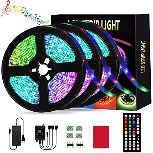 Led Strip Lights Borllyem Rgb Led Light Strip 29 53ft 9m Music Sync Rgb Led Strip 5050 Smd Color Changing Led Strip Lights With 44 Key Timing Ir