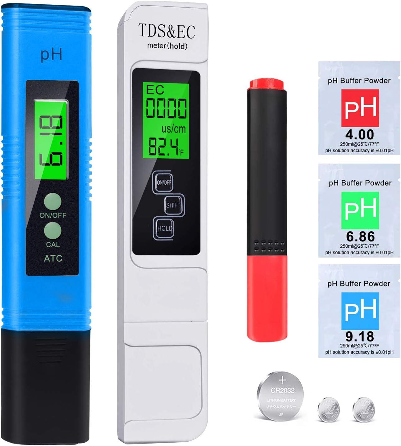 2020 NUEVO Medidor pH Medidor de prueba de calidad del agua TDS pH EC Temperatura Minerales 5 en 1 conjunto, LCD Retroiluminada para Piscina, Agua Potable, pecera, 0-19990ppm Calibración Automática