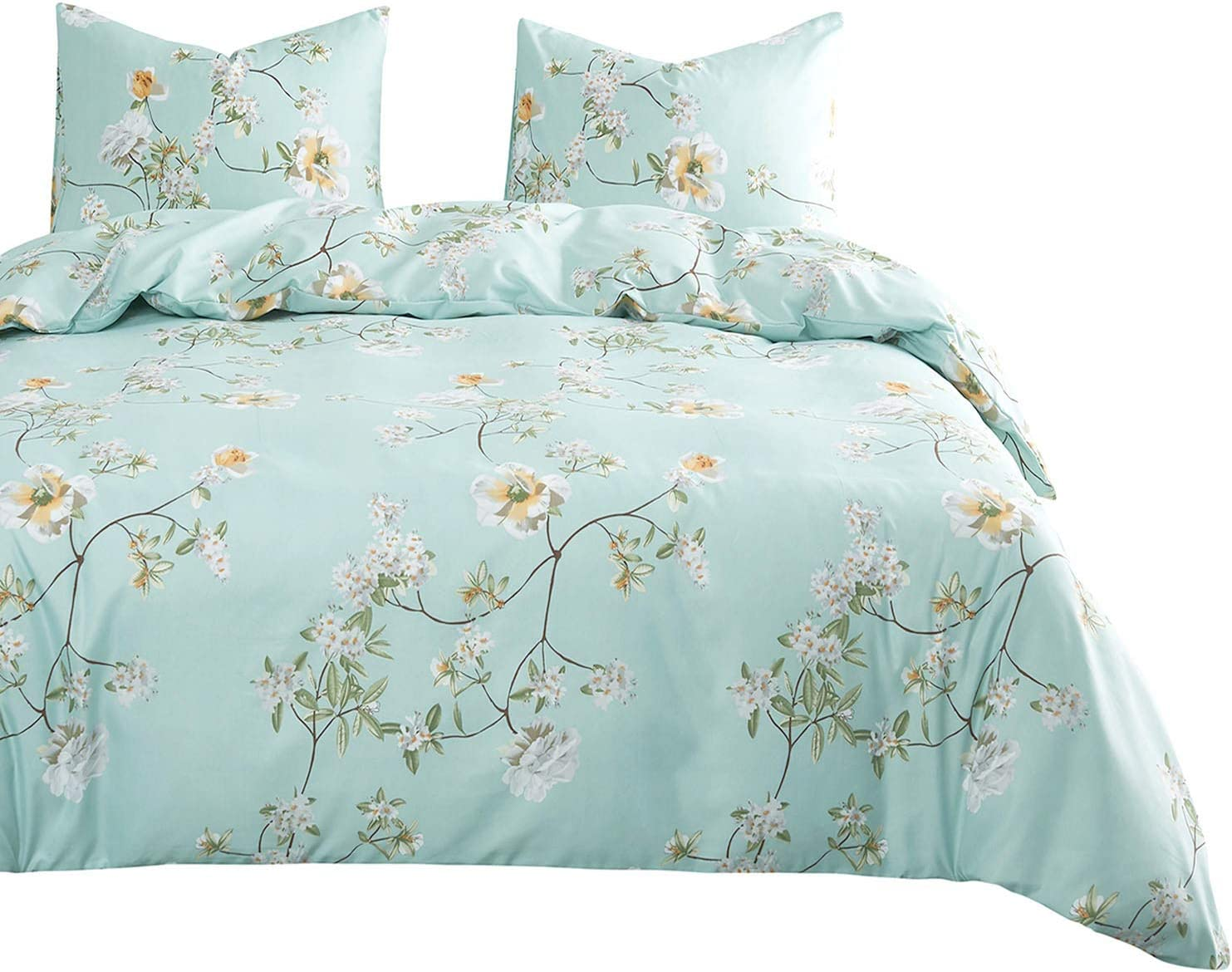 Wake In Cloud - Floral Comforter Set, White Flowers Pattern Printed on Light Blue Green, Soft Microfiber Bedding (3pcs, Queen Size)