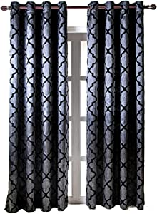 "NAPEARL Jacquard Semi-Blackout Grommet Top Curtain Panel Living Room Window Treatment Set of 2 Panels (Black, 52"" Wx96 L)"
