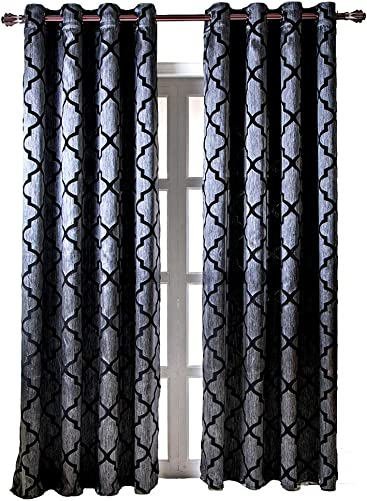 NAPEARL Jacquard Semi-Blackout Grommet Top Curtain Panel Living Room Window Treatment Set of 2 Panels Black, 52 Wx96 L