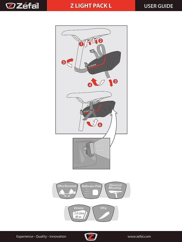 ZEFAL Z Light - Bolsa para sillín de Bicicletas, Color Negro, Talla Large: Amazon.es: Deportes y aire libre