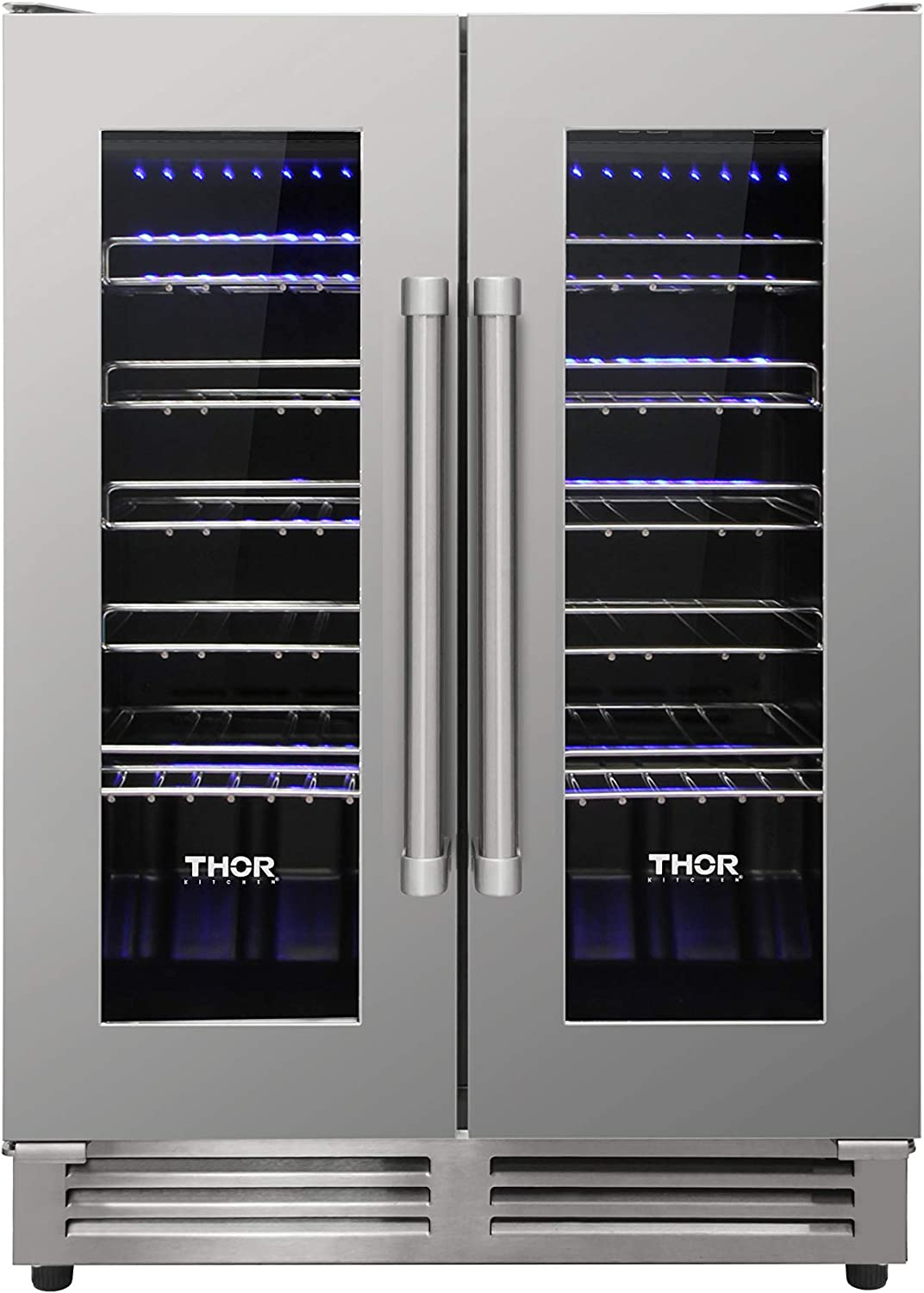 Thor Kitchen 42 Bottles Wine Cooler - Dual Zone Frost Free Wine Chiller Refrigerator - Suitable for 24 inch Space Under Counter or Freestanding