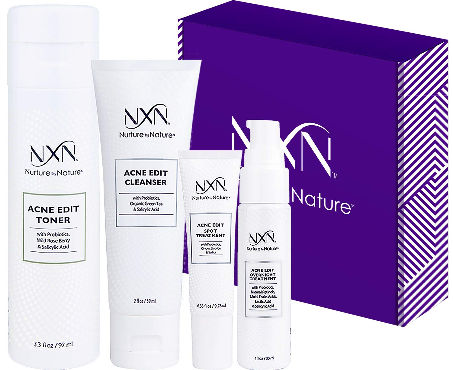 NxN Acne Treatment 4-Step Clear Skin System with Probiotics, Natural Multi-Fruit Extracts and Salicylic Acid for Acne Blemishes and Breakouts For all Skin Types (Including Sensitive Skin) by Nurture by Nature