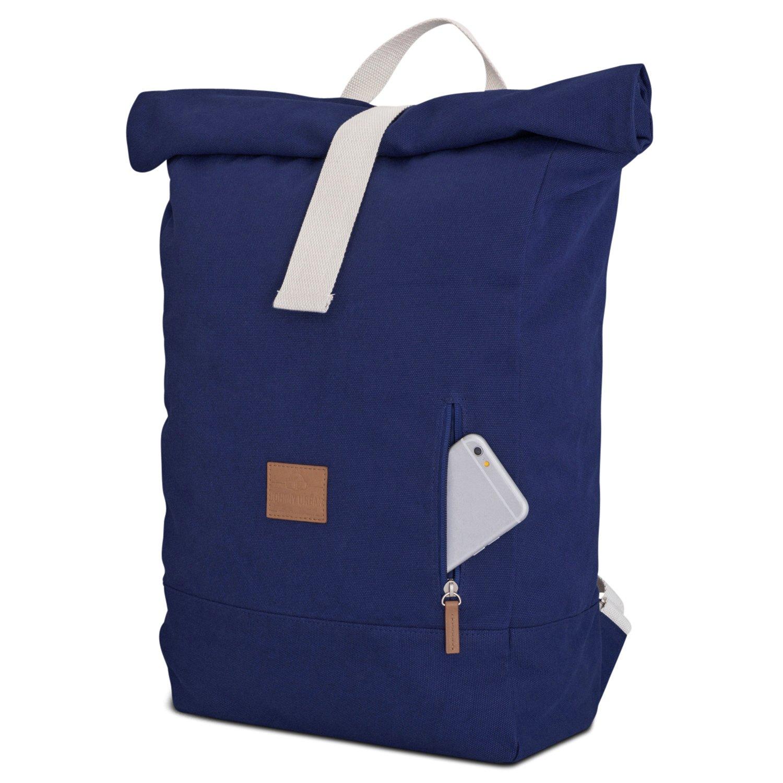 a9a8f8591defd Johnny Urban Rucksack Damen   Herren Blau Roll Top Daypack aus Baumwoll  Canvas - Lässiger Vintage Tagesrucksack für den Alltag - Wasserabweisend    sehr ...