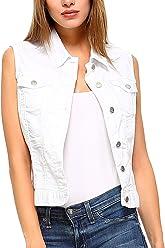 fd8888ecfbe824 Fashionazzle Women's Buttoned Basic Solid Denim Vest Jacket