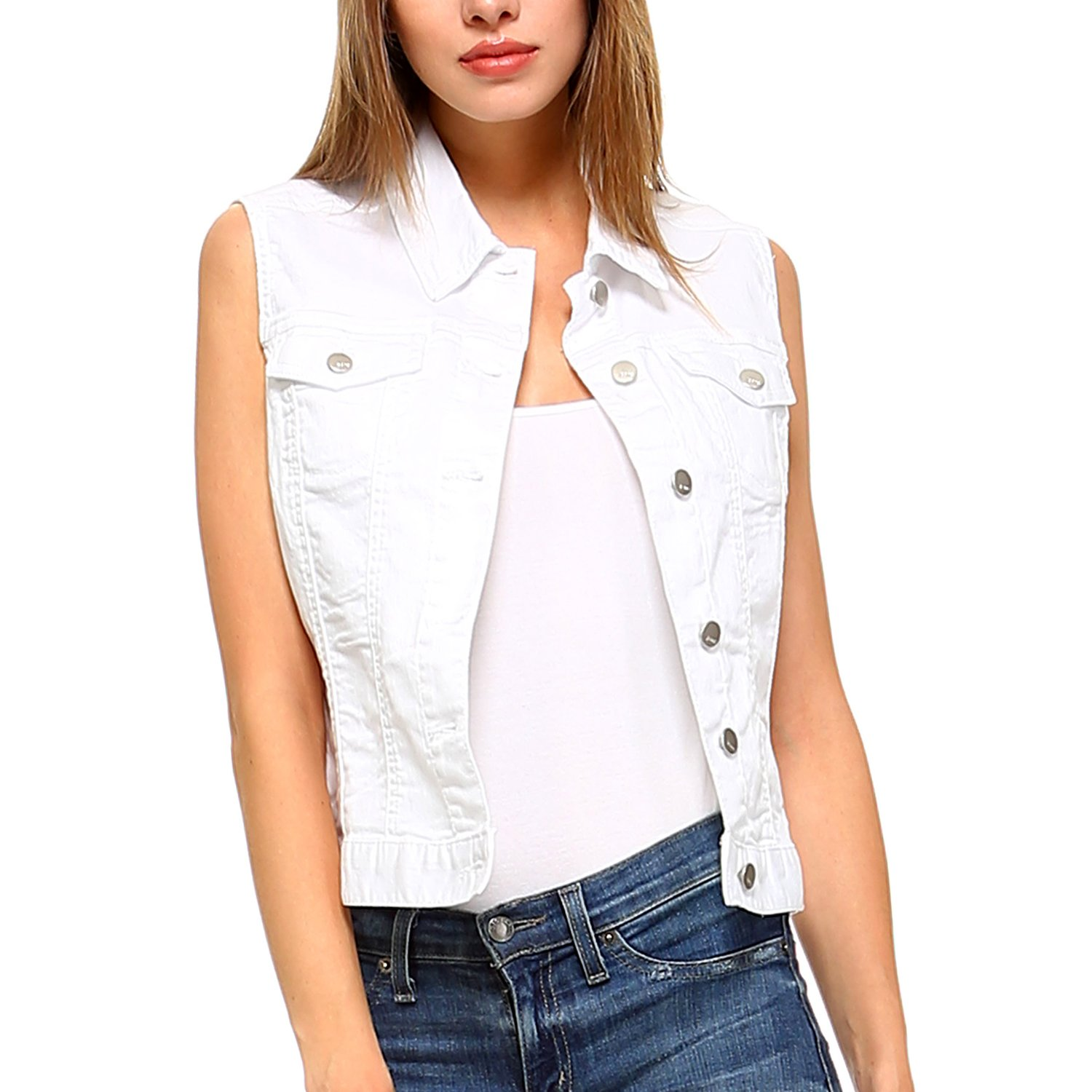 Fashionazzle Women's Buttoned Basic Solid Denim Vest Jacket (X Large, DSV01-White)