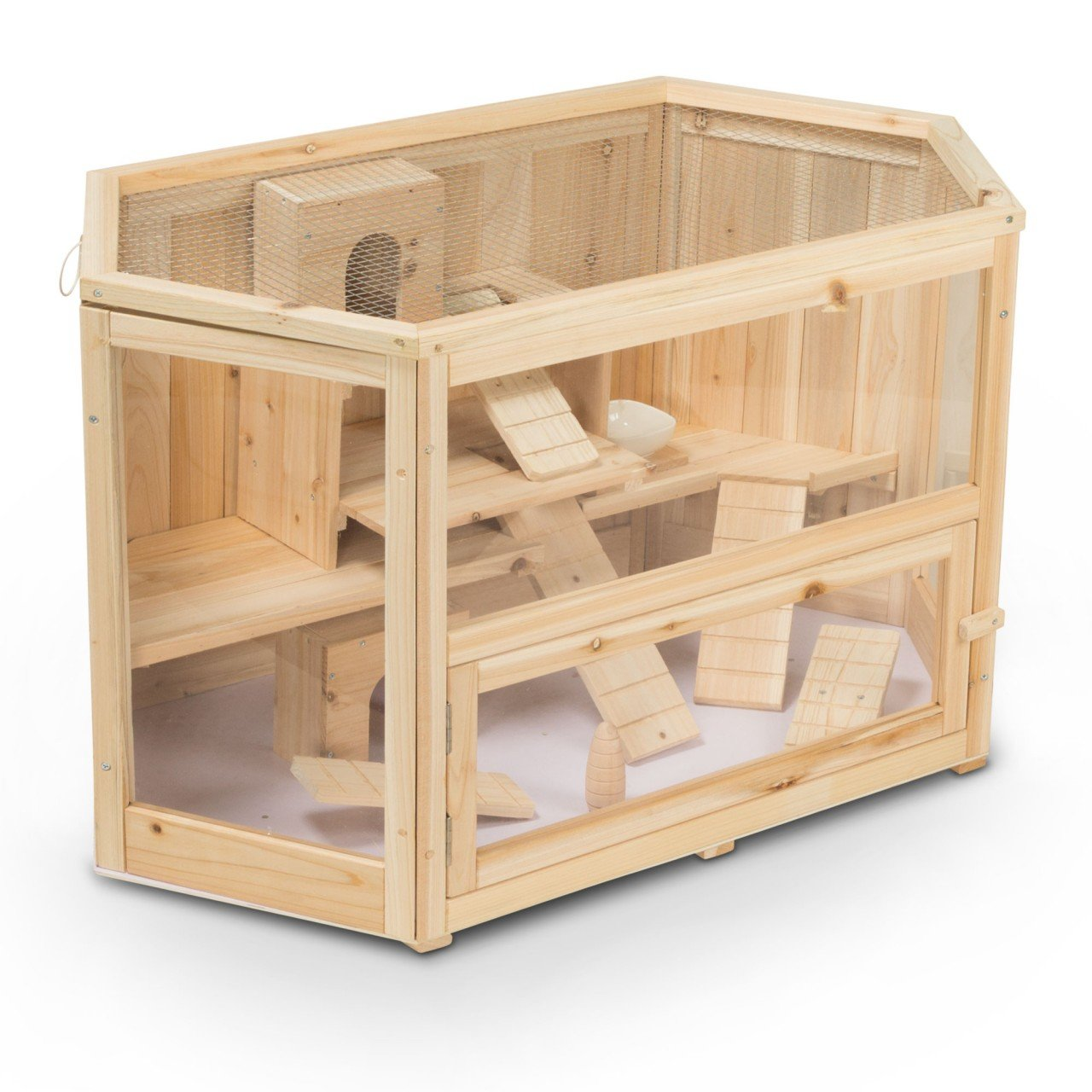 Small animal hutch, guinea pig hutch MATS made of wood, 90x55x55 cm, hamster cage, rodent cage, rodents house
