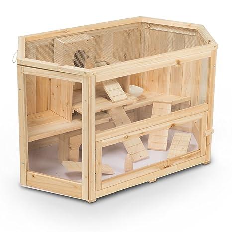 Jaula, conejera de madera MATS, 90x55x55 cm (L/P/A), para ...