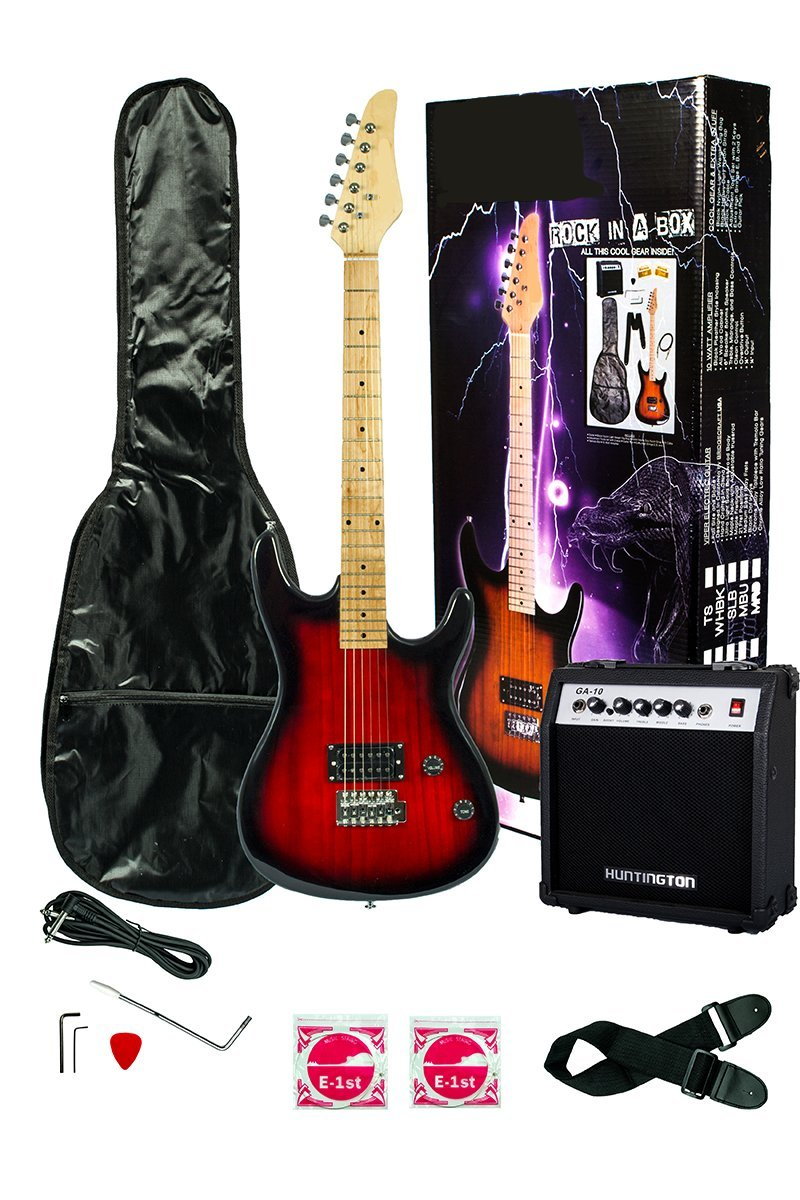 39 Inch RED Electric Guitar and Amp Pack & Carrying Case & Accessories, (Guitar, 10 Watt Amplifier, Whammy Bar, Strap, Cable, Strings, DirectlyCheap(TM) Translucent Blue Medium Guitar Pick) B0097BD71W