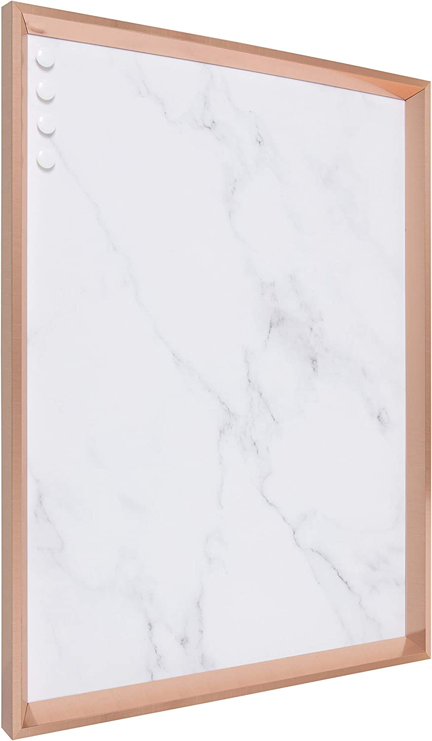 Kate and Laurel Calter Framed Decorative Magnetic Bulletin Board with Classic Glam Cararra Marble Design, 21.5x27.5, Rose Gold