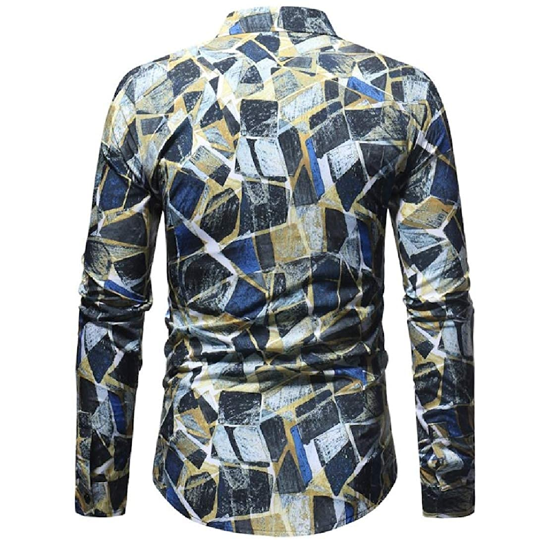 YUNY Men Regular No-Iron Relaxed Flower Print Plus Size Dress Shirt AS1 XL