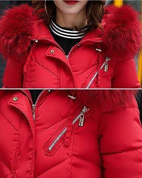 Damen Lang Daunenmantel Daunenjacke Kapuzenjacke Kapuzenmantel Fell Kapuze Winterparka Winter Mantel Jacke Steppmantel Warm 34 36 38 40 42 44