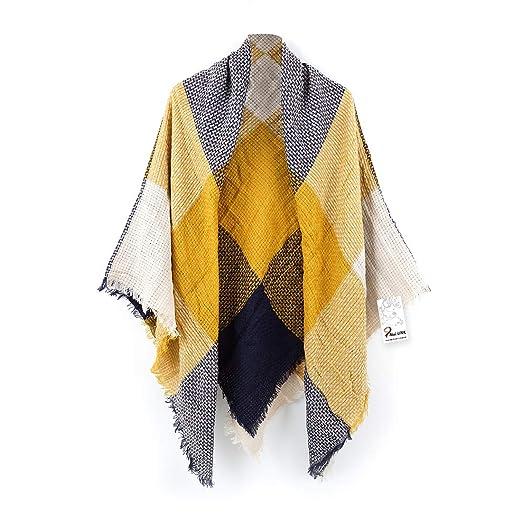 Women s Cozy Tartan Blanket Scarf Wrap Shawl Neck Stole Warm Plaid Checked  Pashmina (Blue) 54505363cd2