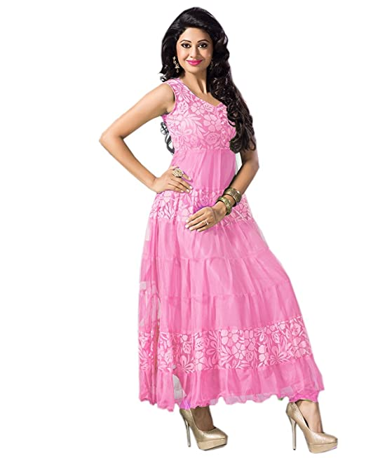 7f6776bdc6 Clickedia Women s Brasso   Net Semi Stitched Anarkali Suit (Red  Variant Pink Free ...