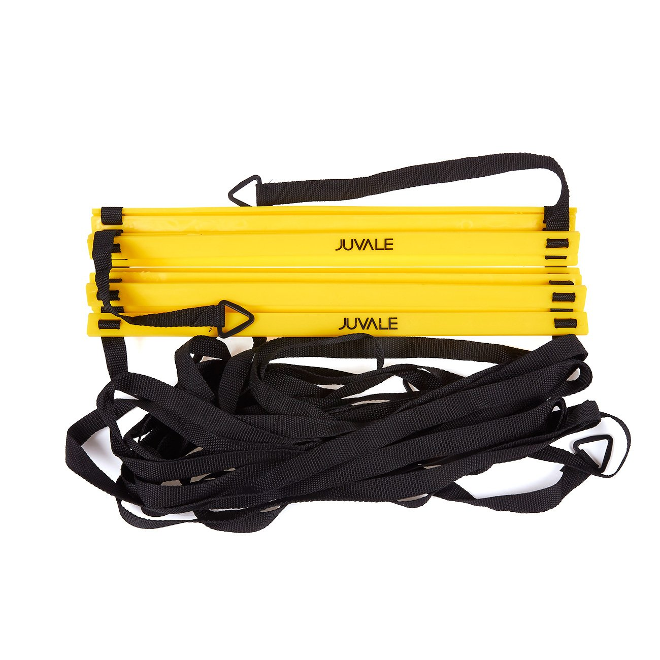 Speed and Agility Training Set - Includes Agility Ladder, 6 Disc Cones, Resistance Parachute, 4 Steel Stakes and a Drawstring Bag - For Speed, Coordination, Footwork, Explosiveness, Black, Yellow by Juvale (Image #1)