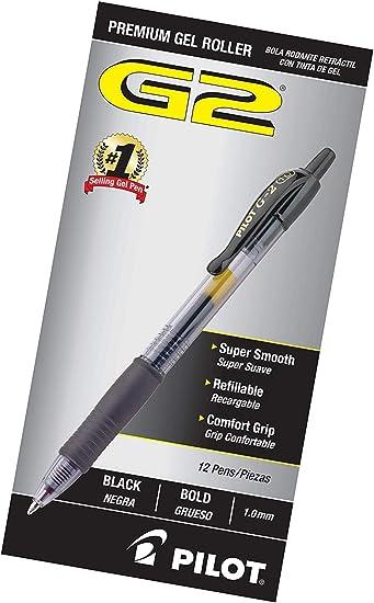 PILOT G2 Premium Refillable /& Retractable Rolling Ball Gel Pens Bla Bold Point