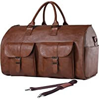 Carry On Garment Bag, Waterproof Mens Garment Bag for Travel Business, Large Leather Duffel Bag with Shoe Compartment…