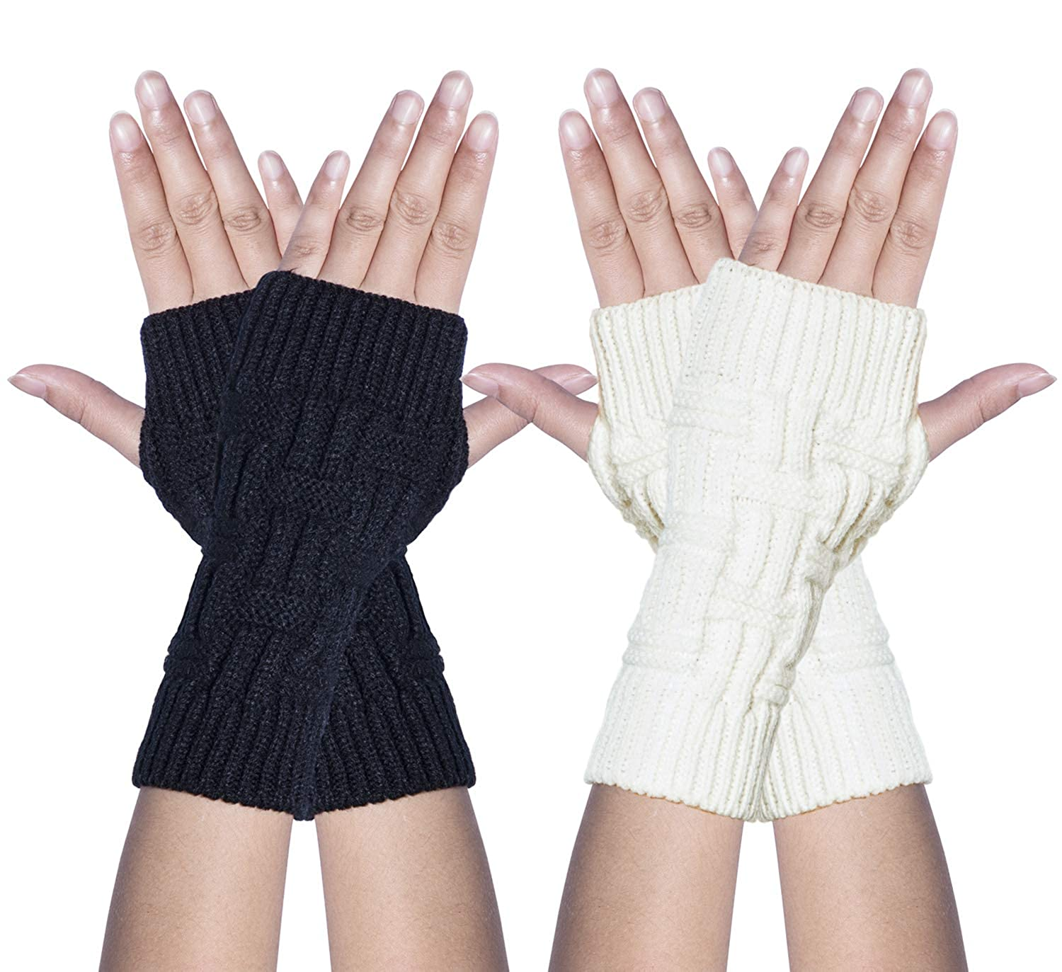 Loritta 2 Pairs Women Winter Warm Fingerless Gloves Crochet Thumbhole Knit Wrist Warmers ACS-148-1