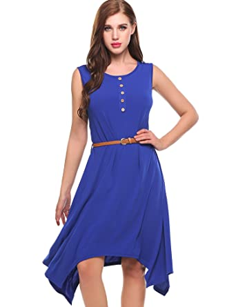 b25762f72fe Meaneor Womens Sleeveless Solid Basic Tunic Dress with Belt (Blue S)