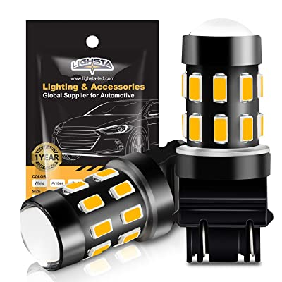 3157 LED Bulbs, LIGHSTA Super Bright 24-SMD 9-30V Non-Polarity 3056 3156 3057 4057 3157K 4157 LED Bulbs with Projector for Turn Signal Blinker Lights, Side Marker Lights, Amber Yellow(Pack of 2): Automotive