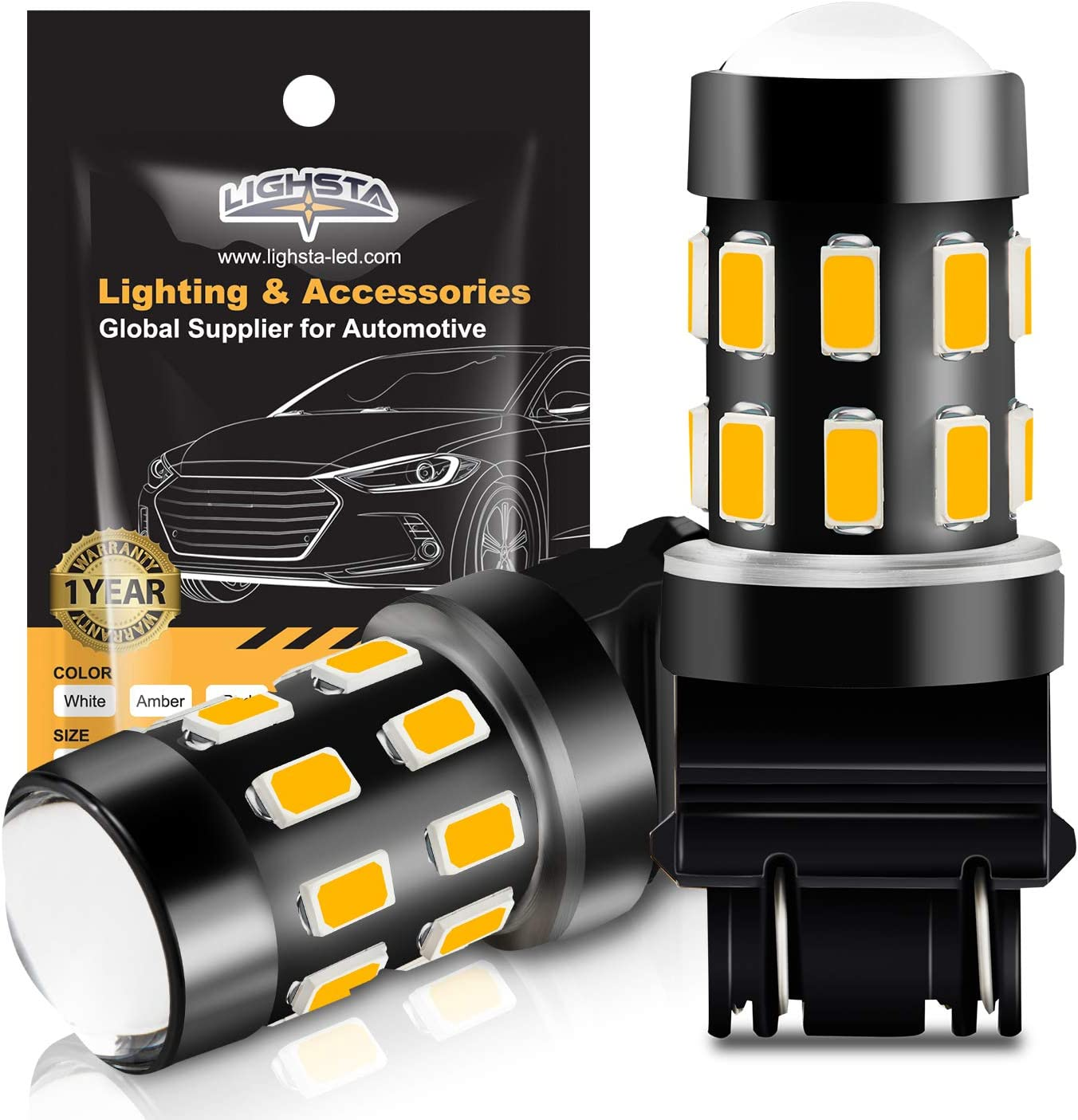 Pack of 2 Amber Yellow Side Marker Lights LIGHSTA Super Bright 24-SMD Non-Polarity 1073 1141 7506 BA15S LED Bulbs with Projector for Turn Signal Blinker Lights 1156 LED Bulbs