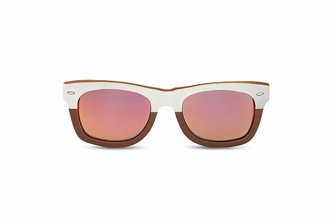 Seven Sunglasses, Gafas De Sol Unisex Hechas En Bambú, Modelo Wayfarer Con Cristal De Espejo