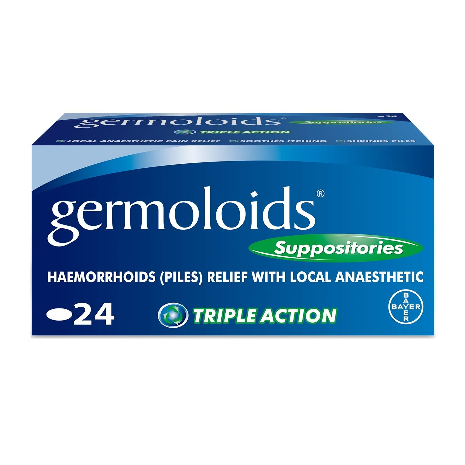 Germoloids Hemorrhoid Treatment & Piles Treatment Suppositories, Triple Action with Anaesthetic to Numb the Pain & Itch, 55 g, 1 Pack of 24
