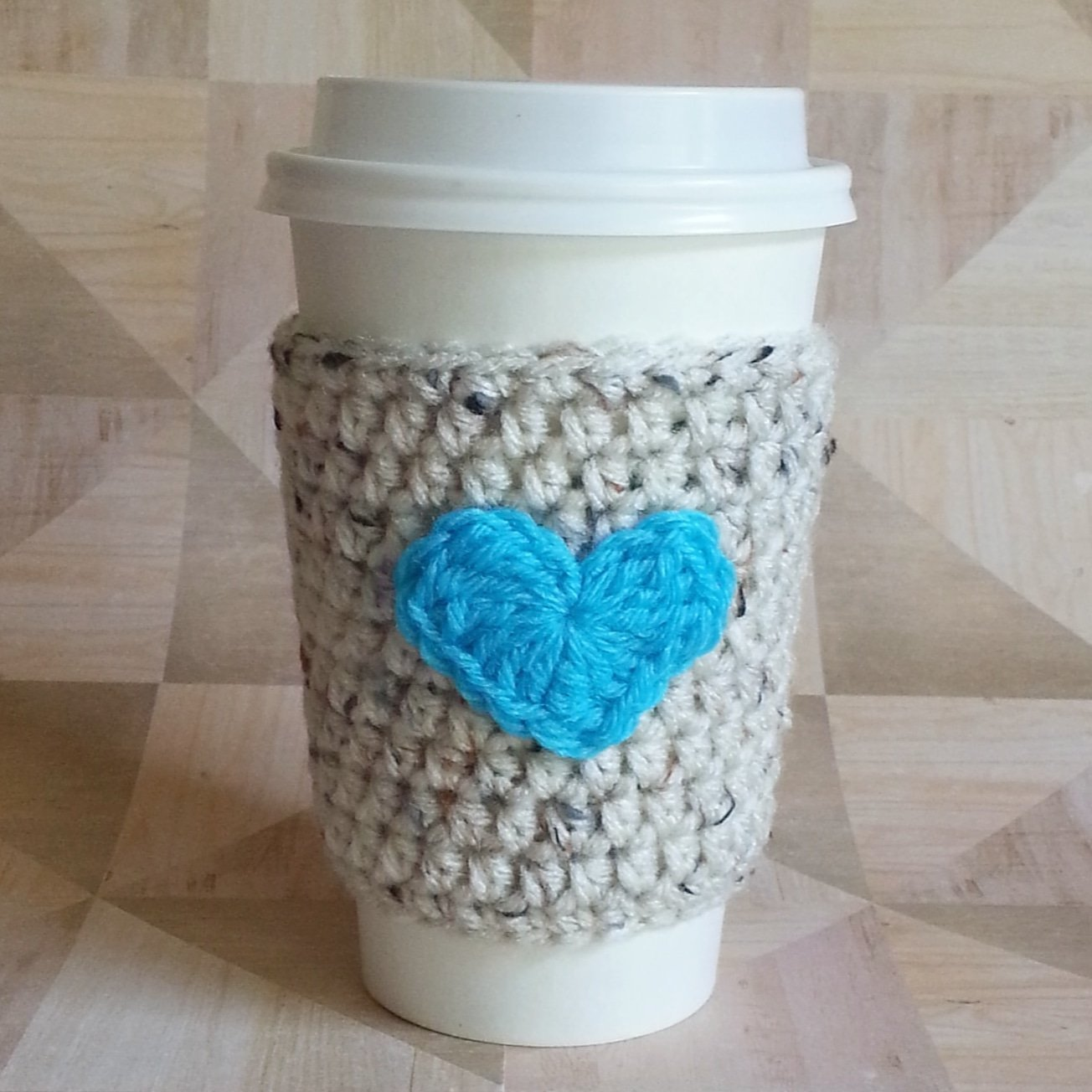 Tea Cup Sleeve Oatmeal with Turquoise Heart