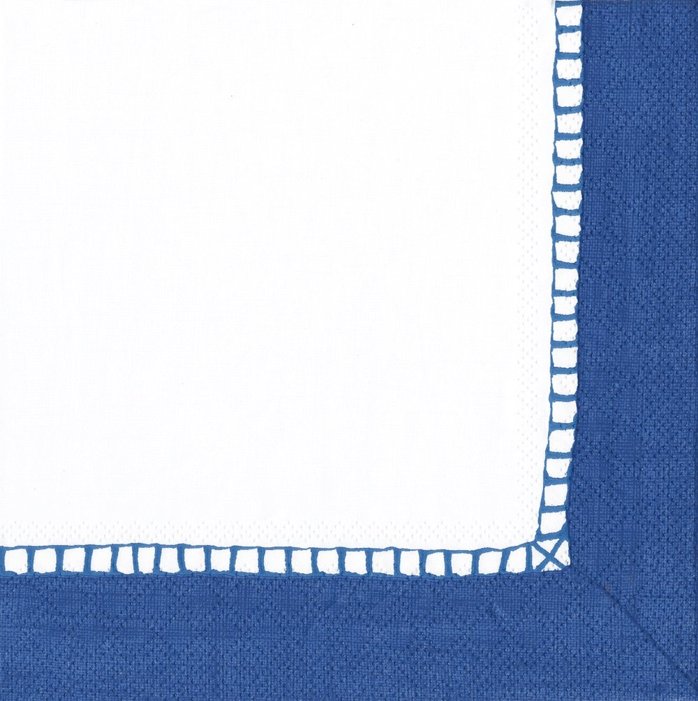 Entertaining with Caspari Linen Cocktail Napkin, Marine Blue, Pack of 20