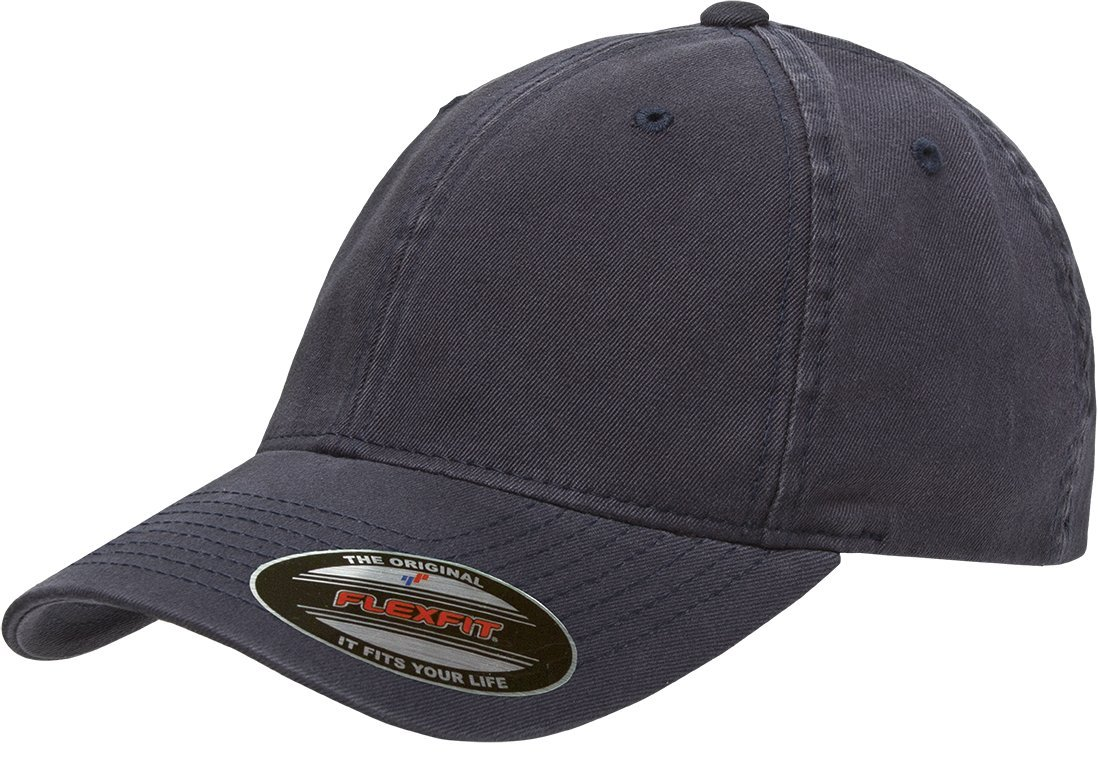 Flexfit/Yupoong Men's Low-Profile Unstructured Fitted Dad Cap, Navy, Large/Extra Large