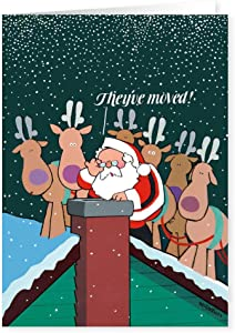 They've Moved - New Address Holiday Card 18 Cards & 19 Envelopes - Funny New Address Cards