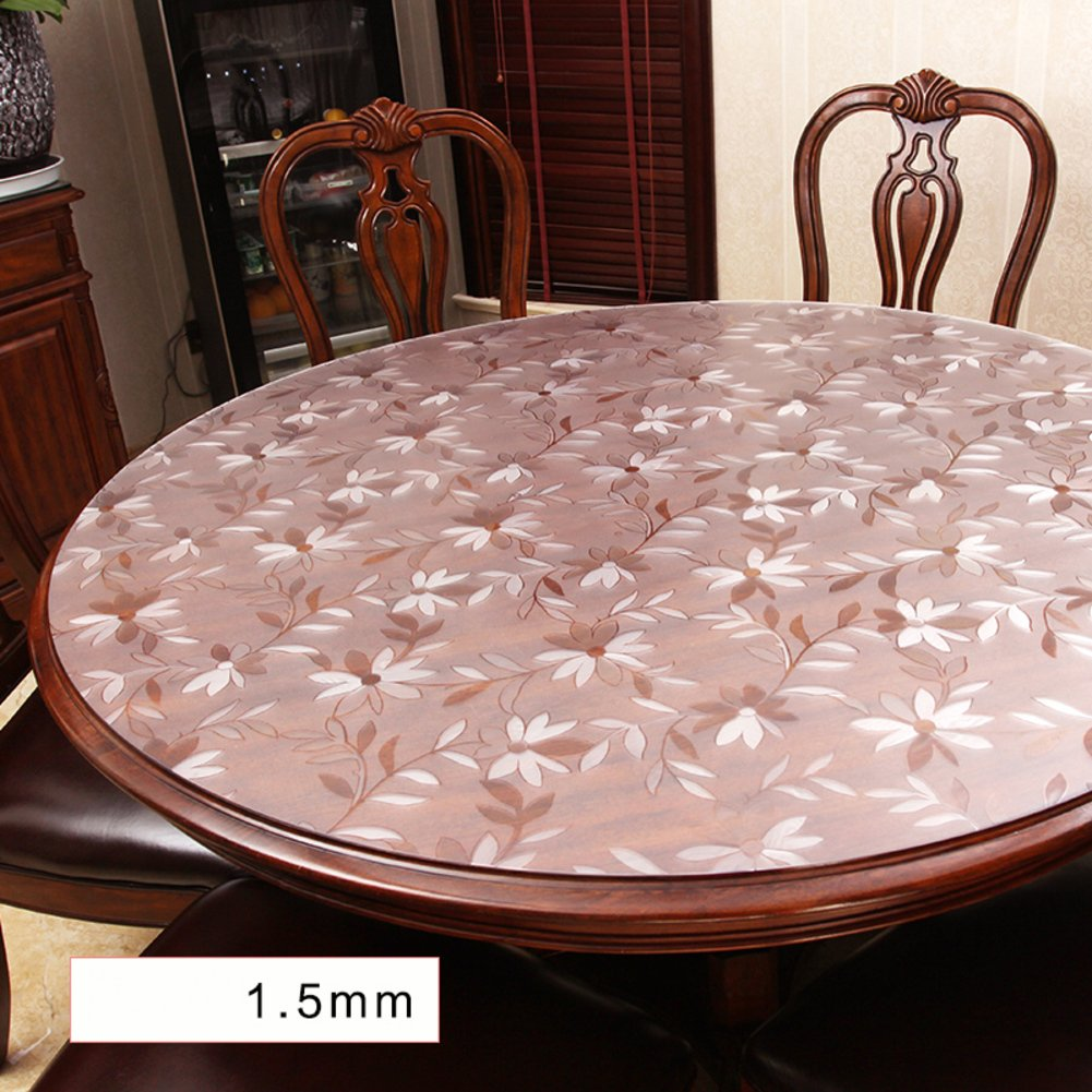 1.5mm Thick PVC Tablecloth,Waterproof Crystal Clear Table top Protector Admired,Easy Clean,Plastic Tablecloth Kitchen Dining Room Wood Furniture Protective Cover-Round-A diameter60cm(24inch) refgvcc
