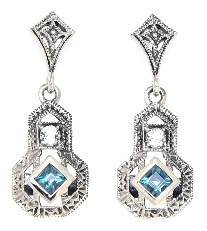 Amazon Com Art Deco Style London Blue Topaz And White Topaz Filigree Earrings Sterling Silver Handmade