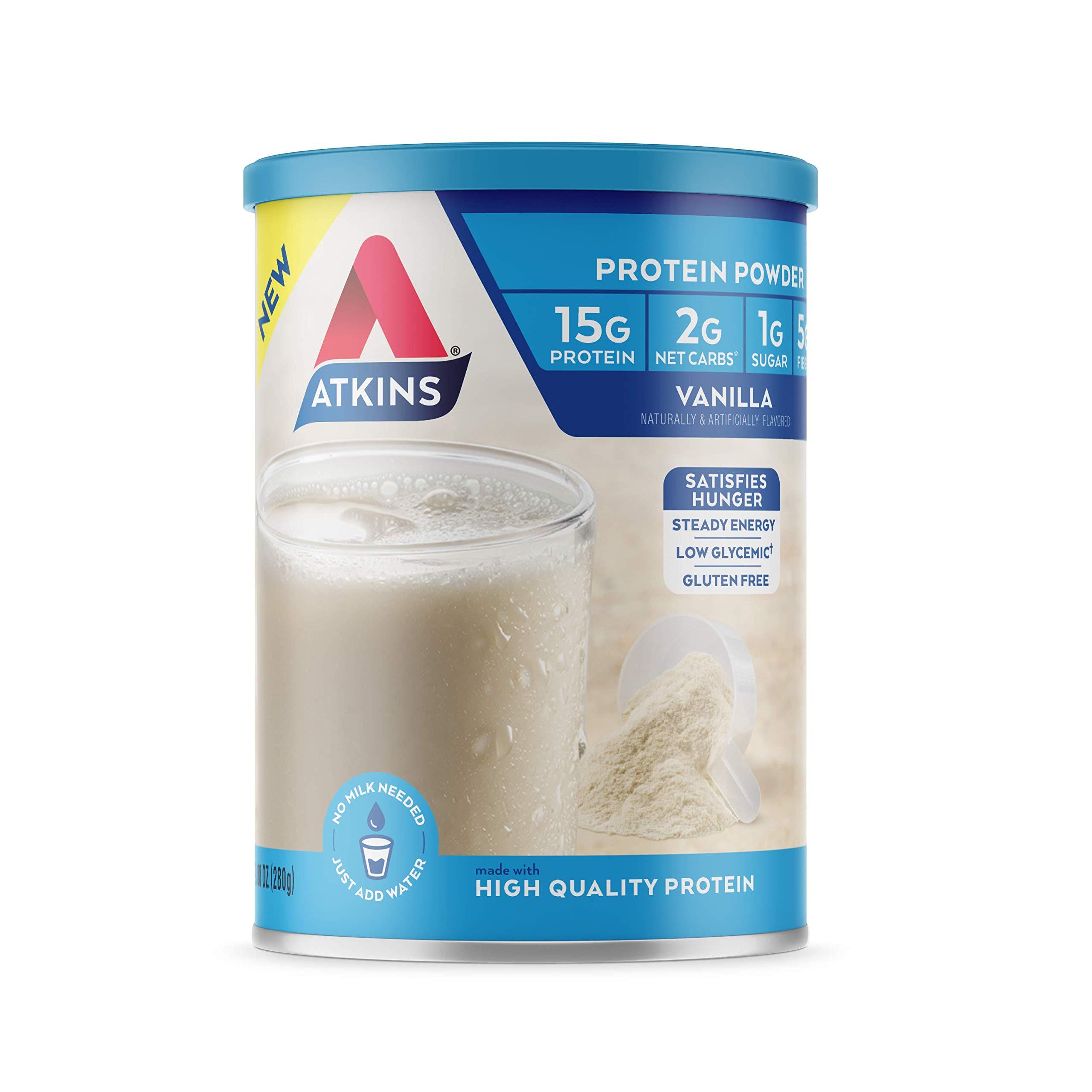 Atkins Gluten Free Protein Powder, Vanilla, Keto Friendly, 9.88 oz. by Atkins