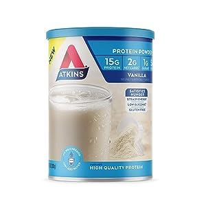 Atkins Gluten Free Protein Powder, Vanilla, Keto Friendly, 9.88 oz.