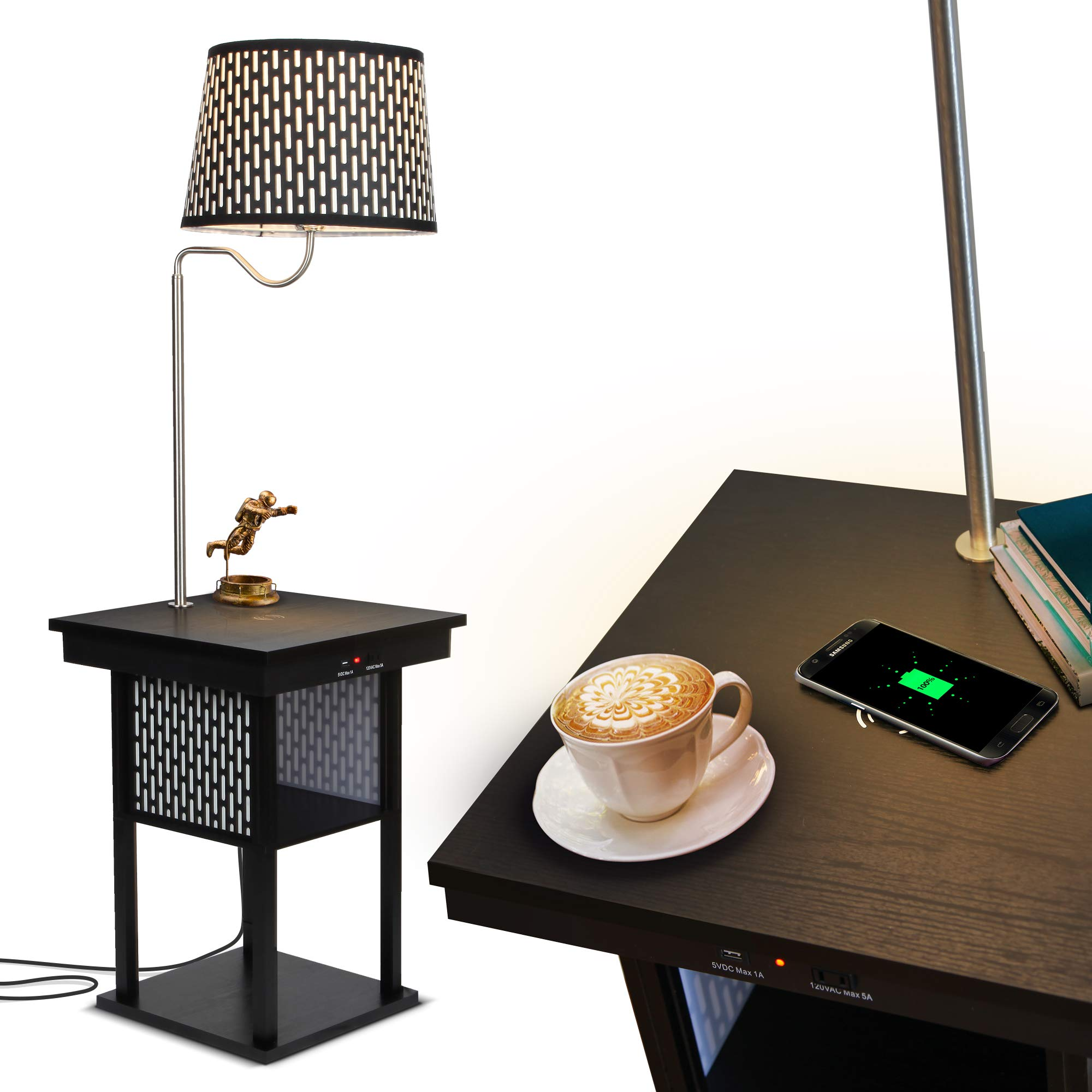 Brightech - Madison LED Floor lamp with Wireless Charging Pad & USB Port, Shelves & Bedside Table Nighstand with Lamp attached - Mid Century Modern End Table for Living Rooms - Classic Black