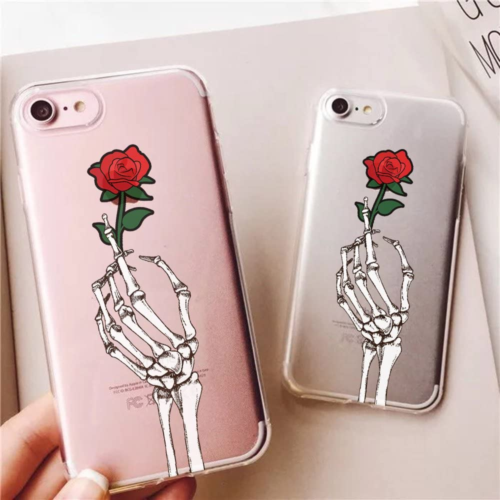 iPhone 7 Plus Case and iPhone 8 Plus Case Skull Skeleton Holding Rose Flower Pattern Protective TPU Bumper Cases