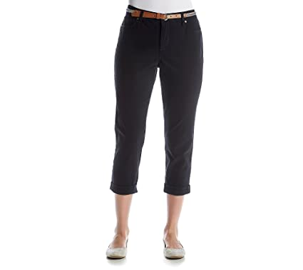 00cb0a7c76d Gloria Vanderbilt Petites  Stefania Slim Roll-Up Ankle Crop Pants Black 4P