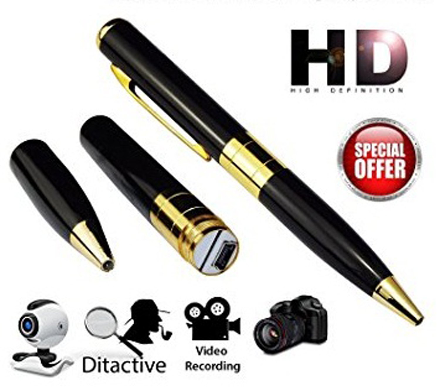 Spy Hd Pen Camera with Voice-Video Recorder & Dvr-Hidden-Camcorder