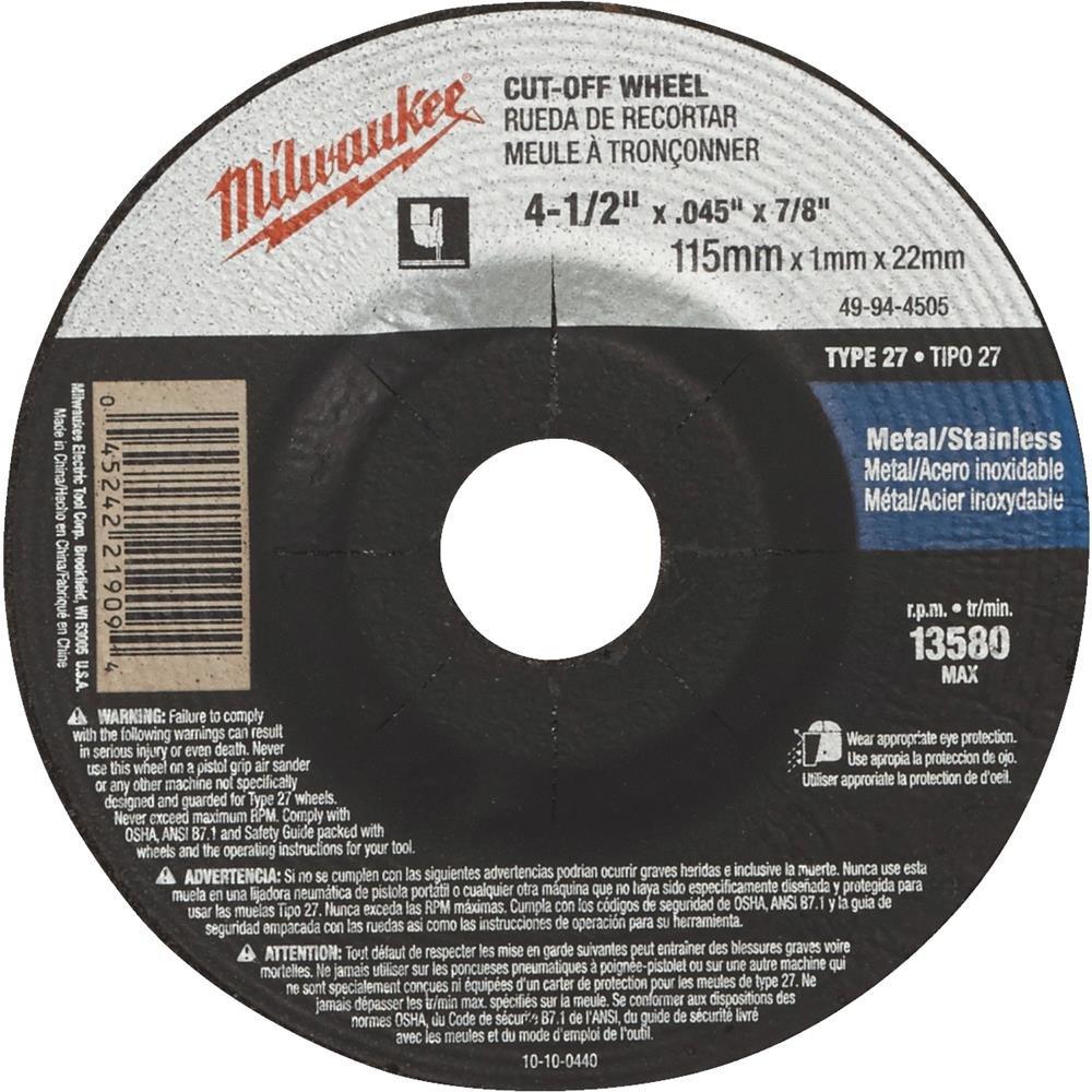 MILWAUKEE ELECTRIC TOOL 49-94-4505 Type 27 Cut-Off Wheel 4-1/2' x .045' x 7/8' GB Industrial Direct