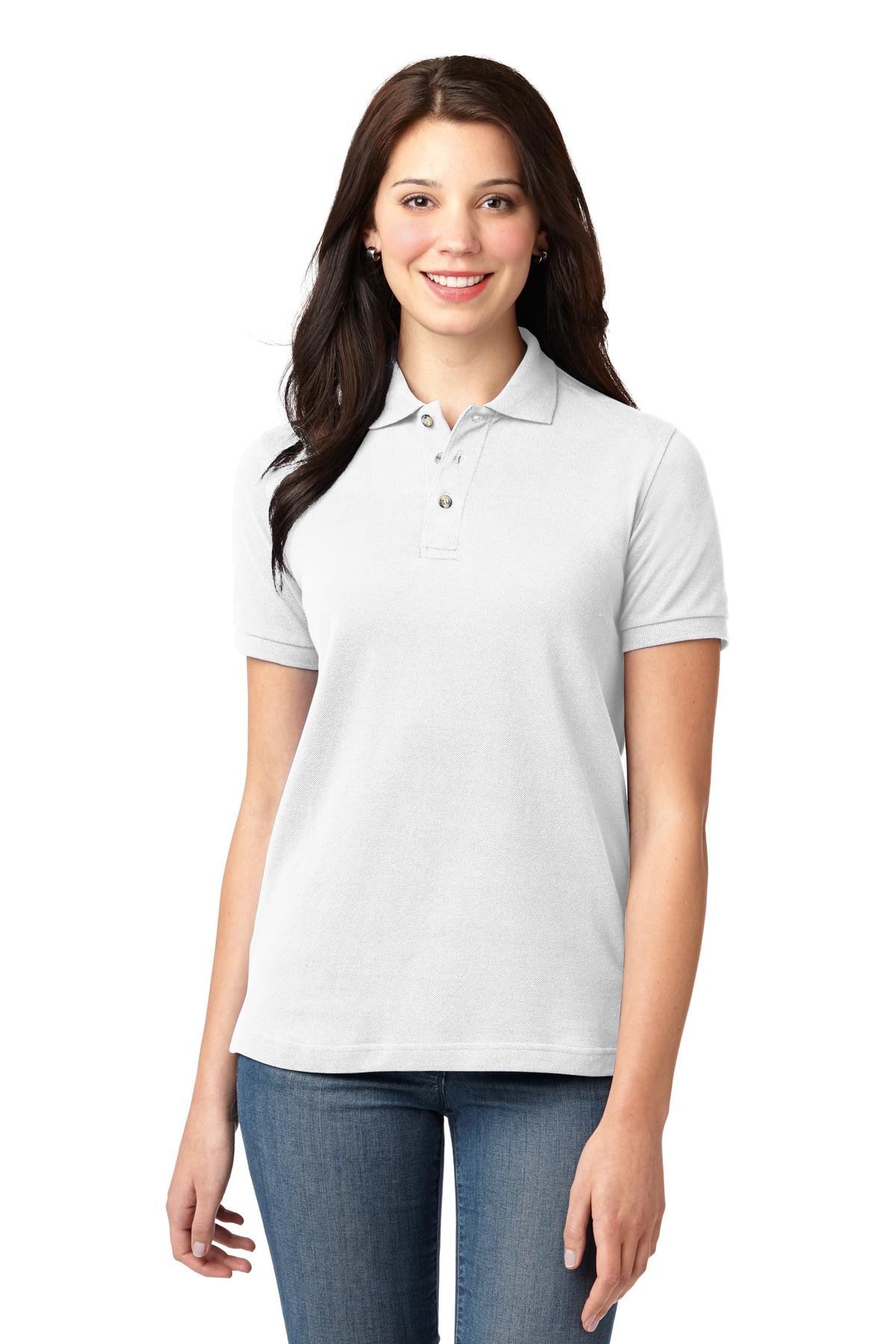 Port Authority Ladies Heavyweight Cotton Pique Polo. L420 White L